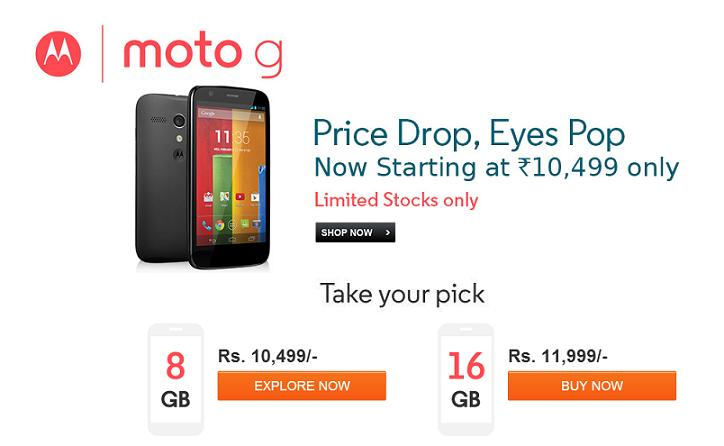 Motorola Moto G Price Drop 8GB variants for Rs.10499 and 16GB for Rs.11999