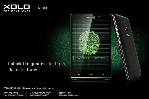 Xolo Q2100 handset with Fingerprint Sensor Launched at Rs.13,499