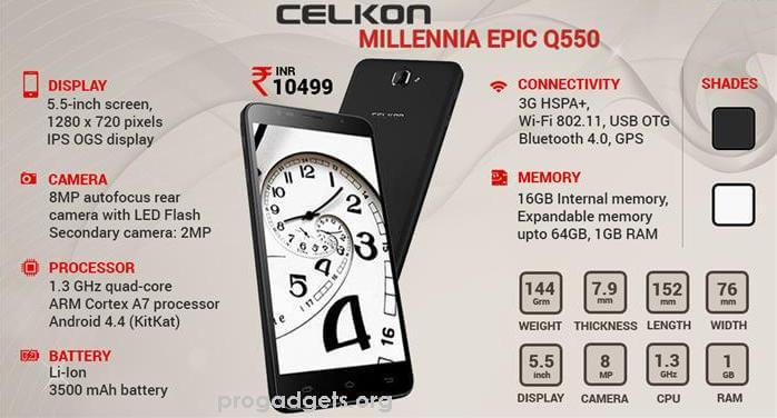 Celkon Millennia Epic Q550 specifications