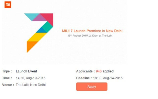 Xiaomi India has announced MIUI 7 launch Premiere in New Delhi on August 19